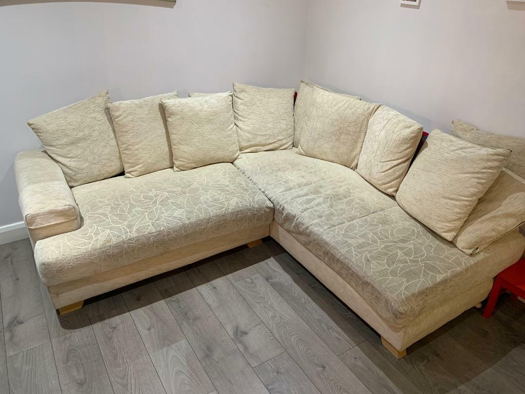 Awe Inspiring Cream Material Corner Sofa Footstool In Castlereagh Belfast Gumtree Gmtry Best Dining Table And Chair Ideas Images Gmtryco