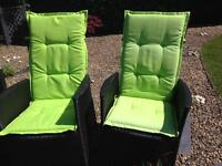 Garden chair seat pads cushions water resistant padded lime green