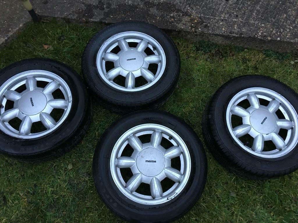 Mazda mx5 mk1 Eunos daisy 14 inch alloy wheels and tyres vgc | in  Chesterfield, Derbyshire | Gumtree