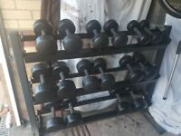 Dumbells .Rack. Free weights.punch bag.bench.3x bars