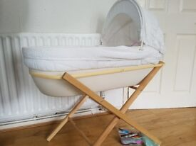 Moses basket with stand for sale