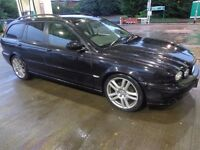 56 black 6 speed jaguar x type diesel estate+mot+tax+service history+towbar+black leathers+DELIVERY