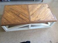 Reclaimed wooden herringbone coffee table rustic shabby chic large