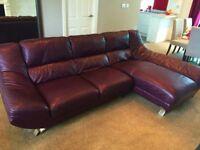 Leather `Dali` Sofa/Corner Chaise from Furniture Village. Aubergine colour.Very Modern