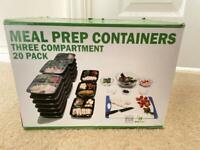 Meal prep 3 compartment containers - 20 pack