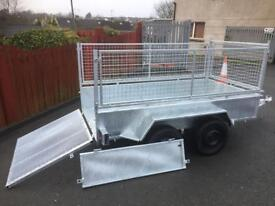 Trailer twin axle builders trailer sheep trailer with mesh sides