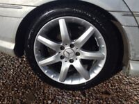 Mercedes 17inch set of alloys and Winter Tyres, Genuine Mercedes C-class alloy wheels with tyres.