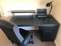 Black Desk with Black Leather Executive Chair!