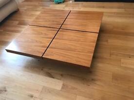 Dwell walnut four block storage coffee table (110x110)