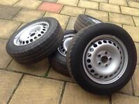 """Vw T5 Transporter 16"""" Steel Wheels with Continental Tyres 205/65/r16c (NEW)"""