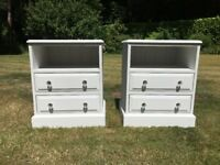 Pair of Hand Painted Solid Pine Bedside Cabinets