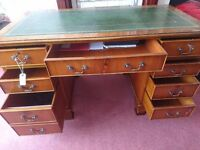 (may deliver) leather top desk with lockable drawers