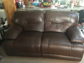 Leather recliner sofa 3 r immaculate condition