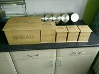 Bamboo canister jar set tea bread sugar coffe biscuits