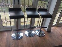 Black leather & chrome bar stools - 3 available