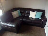 Dark Brown Leather L-shaped Sofa