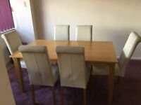Solid wood beech table & 6 chairs