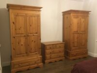 Solid natural pine wardrobes & chest of drawers