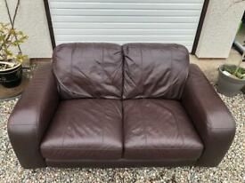 Brown Leather Two Seat Sofa