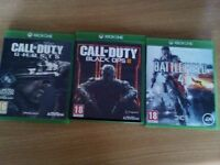Call of Duty Black Ops 3, Call of Duty Ghosts and Battlefield Game for Xbox One - Excellent conditio