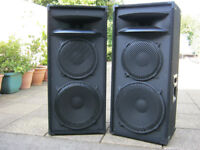 Various disco dj music equipment speakers amps monitors effects mixer flight cases