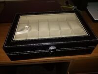 Watch display case - faux leather, holds 12 watches - top condition