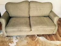 Sofa - Antique style with turned wooden legs and beige textures fabric