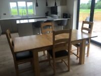 Solid Oak Extending Large Kitchen Dining Table & 4 Chairs