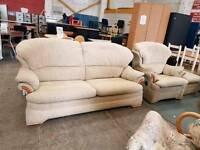 Beige G-plan 2 seater + recliner chair and pouffe