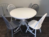 Upcycled round dining table & four chairs