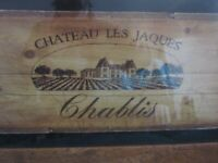 French vineyard picture, framed in oak, glass covered.