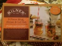 Kilner 9 piece mug, straw and lid set