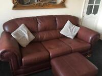 Free Brown Leather Sofa, Arm Chair and Footstool