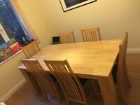 Wood table and 6 chairs