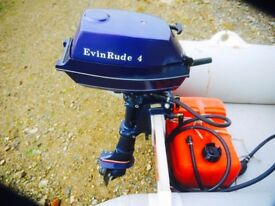 REFURBISHED EVINRUDE 4hp OUTBOARD ENGINE COMPLETE WITH FUEL TANK AND LINES
