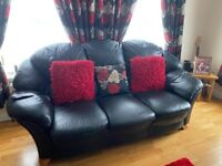 Black Full Leather sofa and 2 chairs