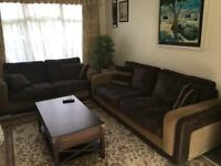 3 + 2 seater leather sofas +matching cushions, quick sale