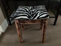 Vintage wooden bar stool zebra black and white - ideal for dressing table