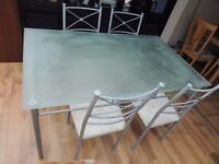 Metal Table , Frosted Glass Top plus 4 chairs