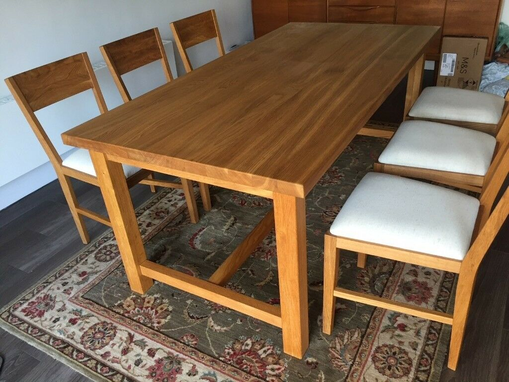 Solid Oak Laura Ashley Dining Table With Upholstered Chairs Seats 6