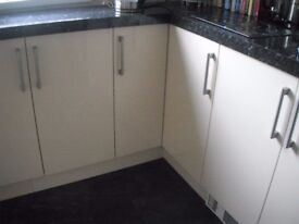 Cream gloss kitchen cupboard doors
