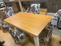 cream and oak extending dining table and chairs