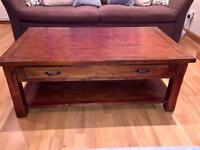 Large solid rustic dark wood coffee table £75 ono