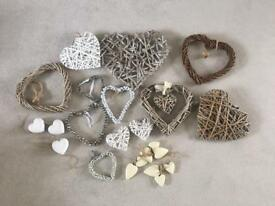 Bulk wedding decoration 16+ , wooden wicker hearts.