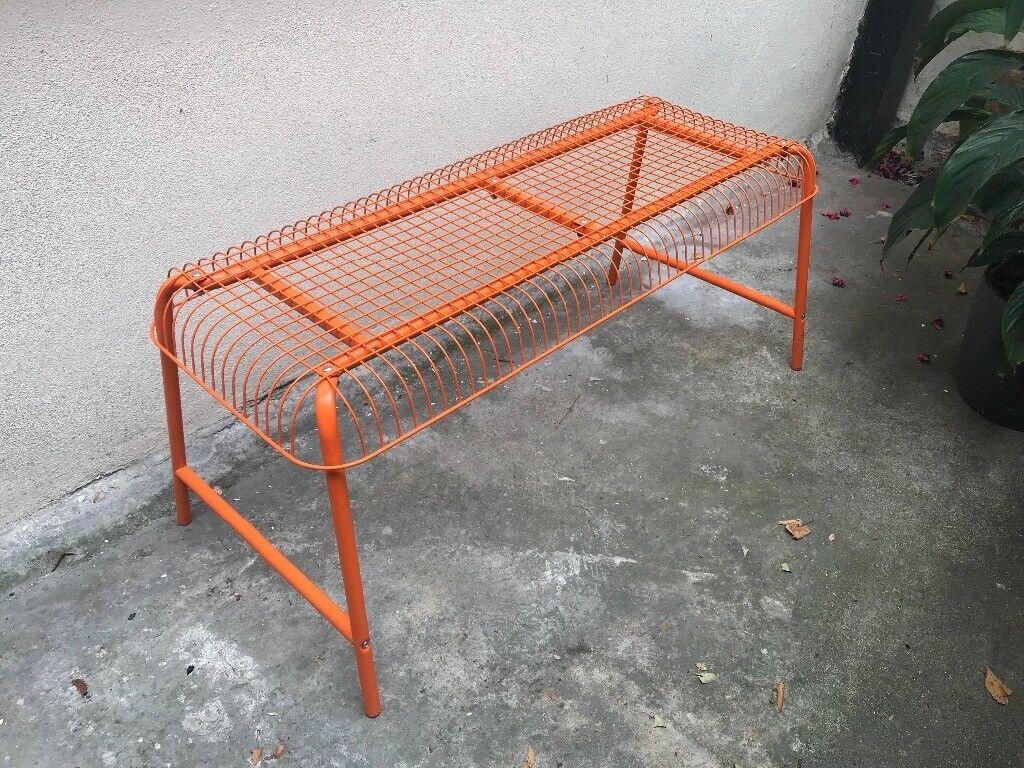 Ikea vasteron metal bench orange in outdoor camden