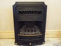 Coal-effect Gas fire, surround, hearth and mantlepiece.