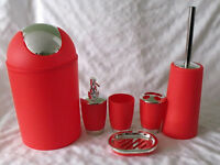 Bathroom Accessory Set, Red, 6-Piece by SQ Professional NEW BOXED