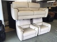 Cream White Pure Italian Leather Three Piece Suite 3 Seater Sofa and 2 Armchairs RRP £4000