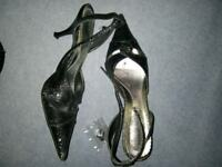 Size 6 black glittery shoes with spare heels