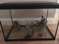 65 litre fish tank with ornaments good condition